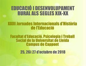XXIII Jornades d'Història de l'Educació: «Educació i desenvolupament rural en els segles XIX i XX»